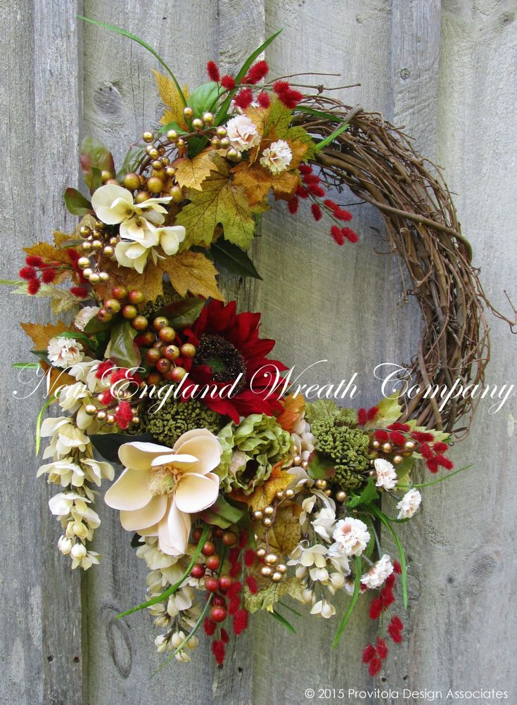 Elegant Autumn Garden Wreath  ~A New England Wreath Company Designer Original.