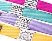 Nom personnalisé plaque collier chien - gravée avec 18 couleurs de sangle au choix