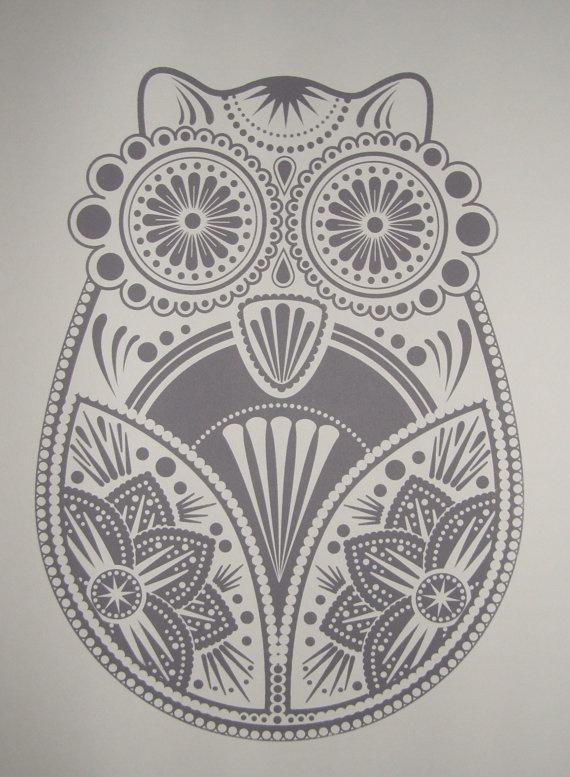 Beautiful owl screenprint.
