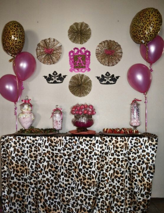 Hot pink and leopard baby shower dessert table leopard for Animal print baby shower decoration ideas