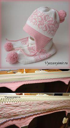 Standing yarn on a knitting machine...  I would lose my mind!!  Детская шапка с ушками на вязальной машине.