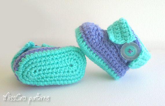 Crochet pattern - Baby boots crochet pattern *2 -  Instant Download