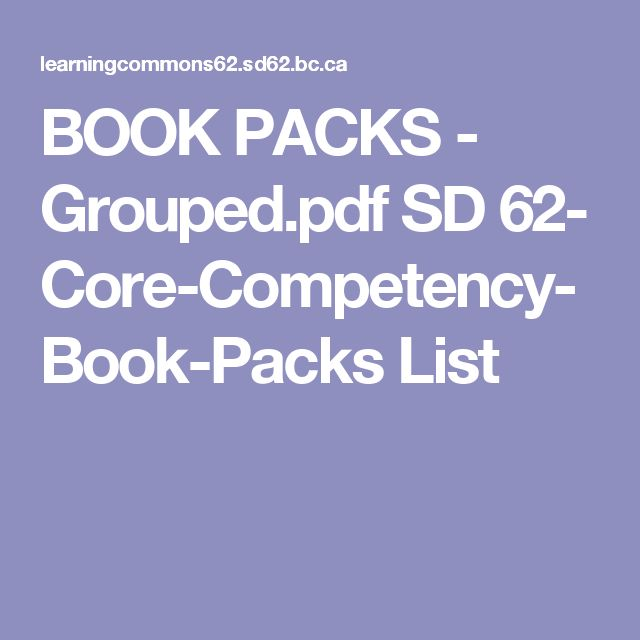 Book Packs Pdf: SD 62- Core-Competency Book List
