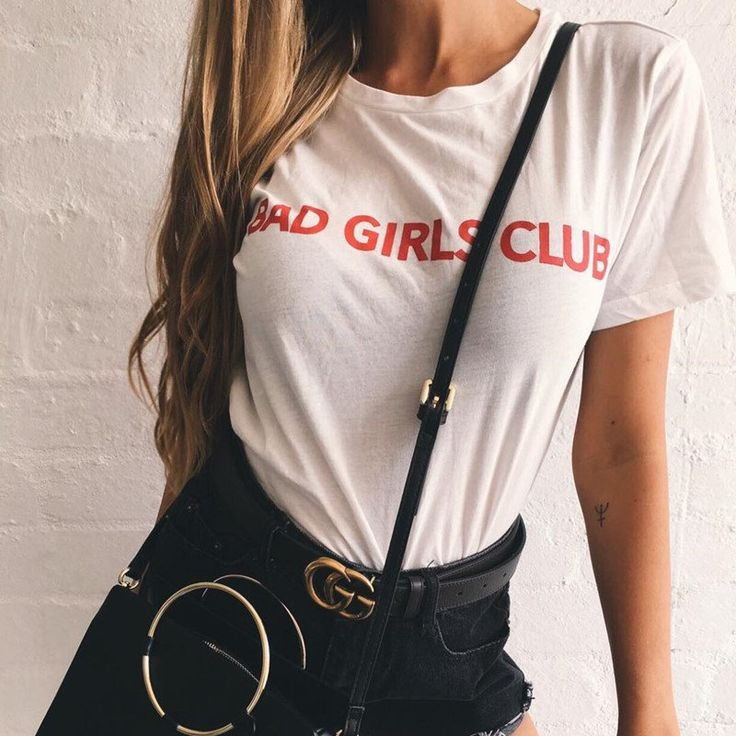 Street Outfit BAD GIRLS CLUB Letters Casual Cotton Short Sleeve T-shirt – Lupsona