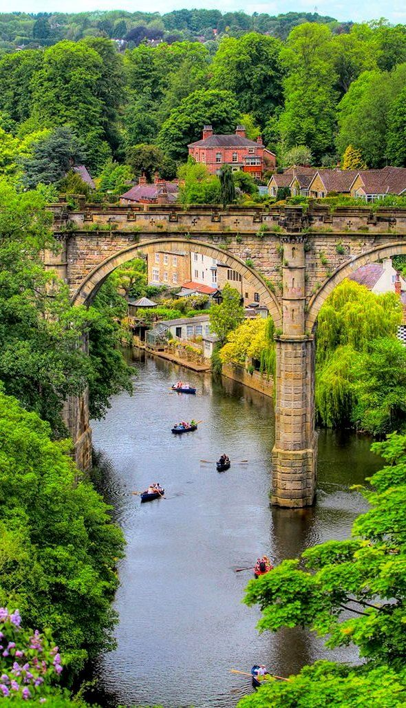 High bridge over river Nidd, rebuilt in 1773, Knaresborough, North Yorkshire, England