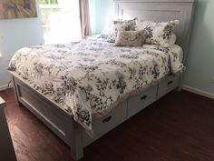 Queen size farmhouse bed with storage | Do It Yourself Home Projects from Ana White