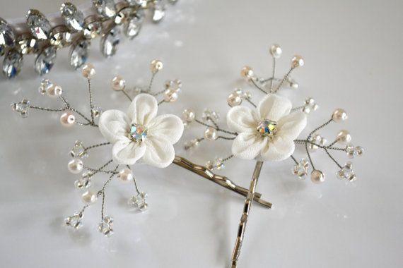 Pearl Crystal Flower Wedding Hair Pins, Bridal Hair Pins, Wedding Hairpiece Wedding Hair Accessories Bridal Bobby Pins White Flower Hair Pin