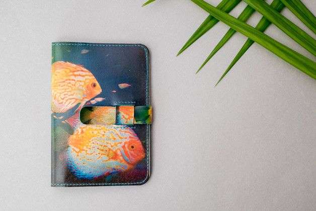 Travel Bags – 'Tropical Fish' print leather passport case – a unique product by MagpieAccessories on DaWanda