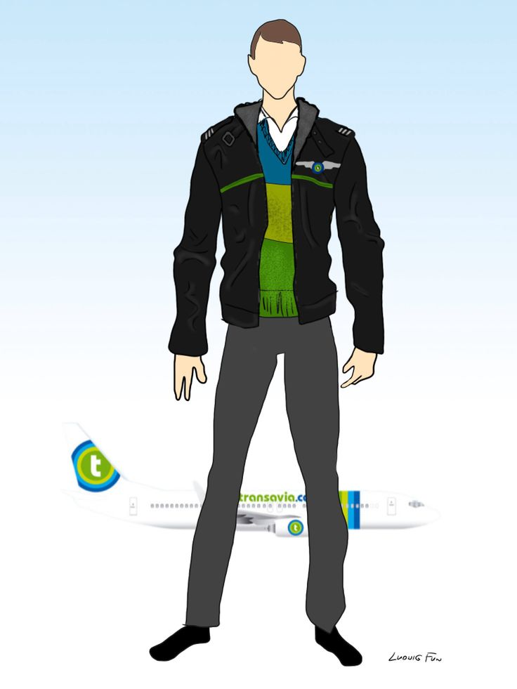 Design concept for transavia.com's upcoming new cabin crew uniforms. Men's black leather aviator jacket with sheepskin lining over colored sweater.