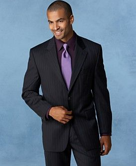Macy s Men s Lauren By Ralph Lauren Two Button Navy Stripe Wool Cashmere Suit - Stylehive