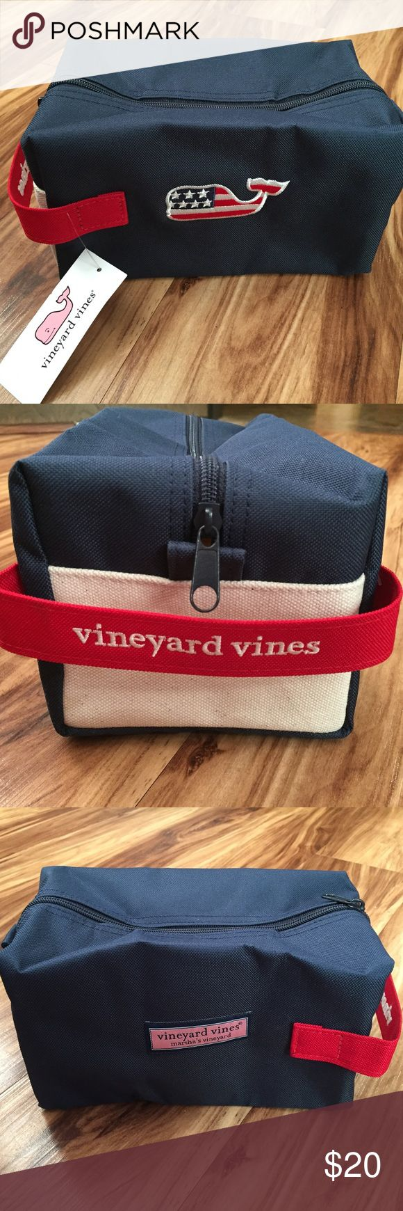 """Vineyard Vines NWT Whale Flag Travel Dopp Kit Bag Vineyard Vines Dopp Kit Bag Red, White & Blue A great bag for travel essentials, makeup, and toiletries.  Features: Signature Vineyard Vines Logo 100% Polyester  Top Zip  Exterior American Whale 8.5""""W x 4.75""""D x 5""""H +/- Side Carry Strap  Imported🐳 🇺🇸keywords: preppy, fraternity, sorority, prep, classic, vv, Fourth of July, America, patriotic Vineyard Vines Bags Cosmetic Bags & Cases"""
