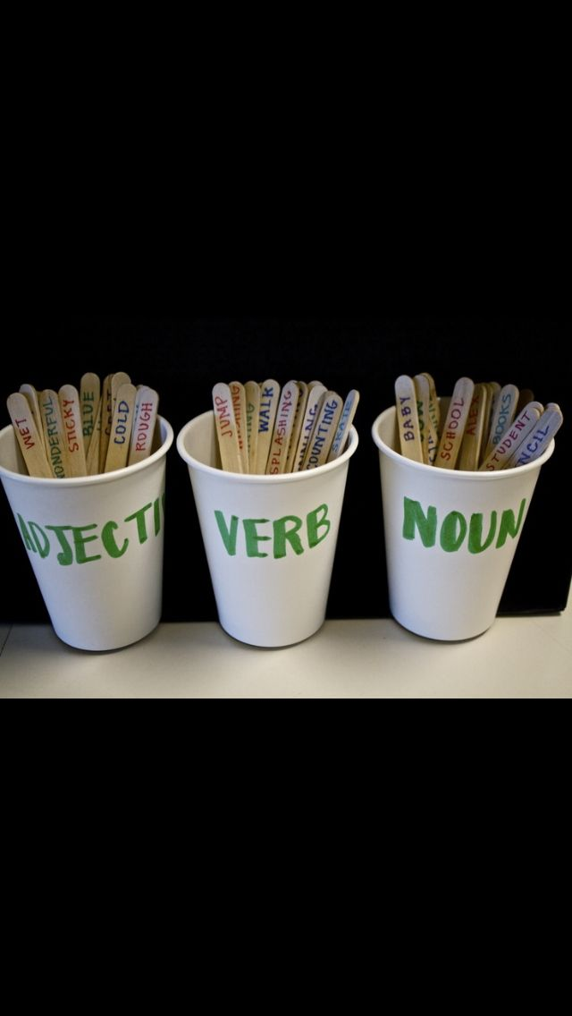 Literacy tool- Practice sentence structure and word placement or do the opposite and give students the sticks and have them place the sticks in the appropriate cups.