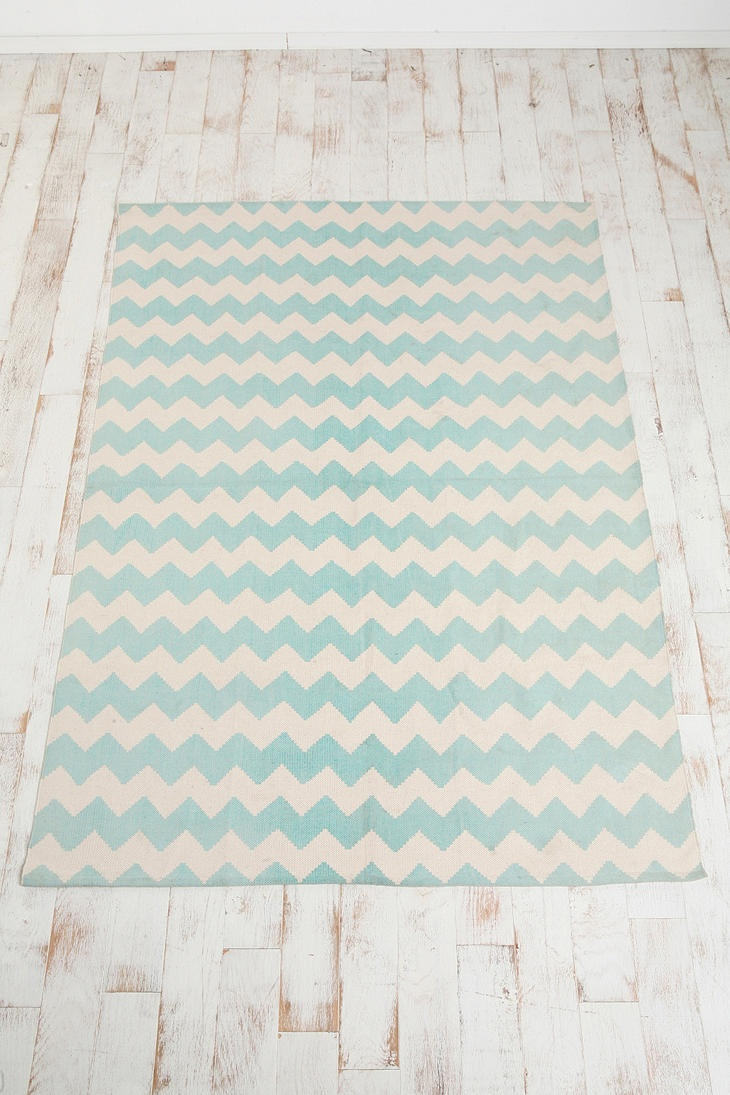 Chevron rug mint green