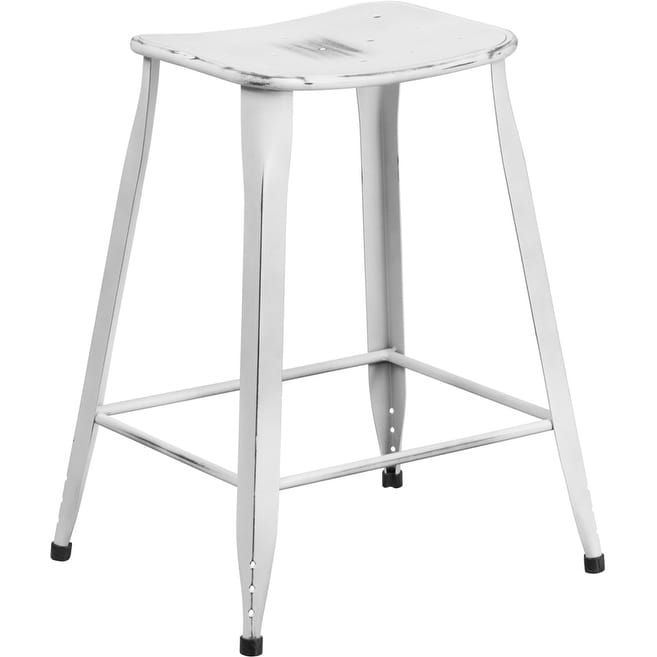 iHome Brimmes 24'' High Distressed White Metal Indoor/Outdoor/Patio/Bar Counter Height Stool