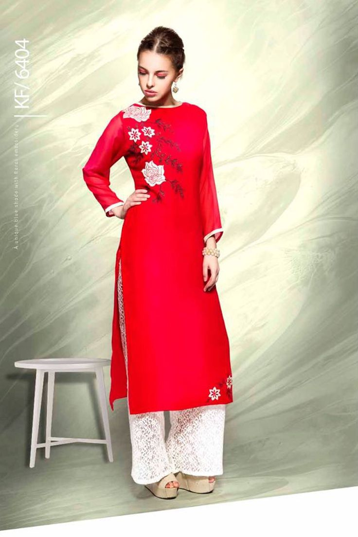 Designer Real Georgette Red Kurtis For Office Wear Or Casual Wear With Embroidary Work.......