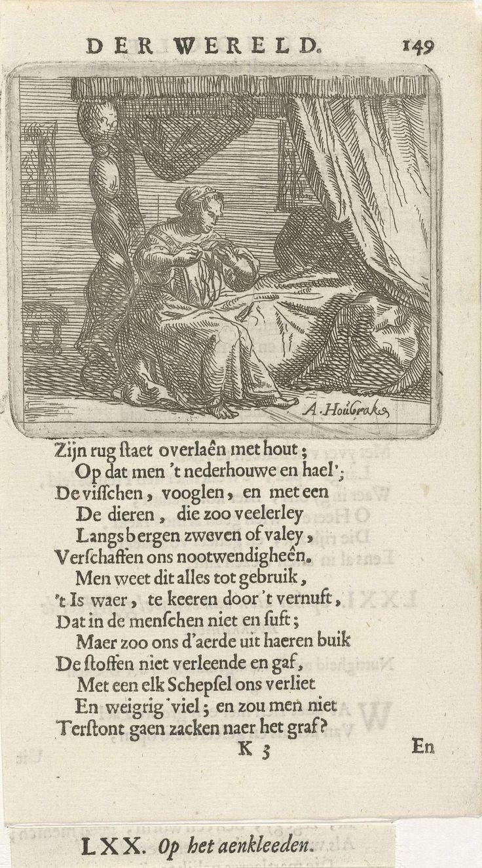 Arnold Houbraken | Vrouw op de rand van een hemelbed, Arnold Houbraken, 1682 | Een vrouw kleedt zich aan op de rand van een hemelbed. Prent uit een boek waarin 36 prenten met zinnenbeelden. Prent gebruikt in: F. van Hoogstraten, De schoole der wereld, 1682.