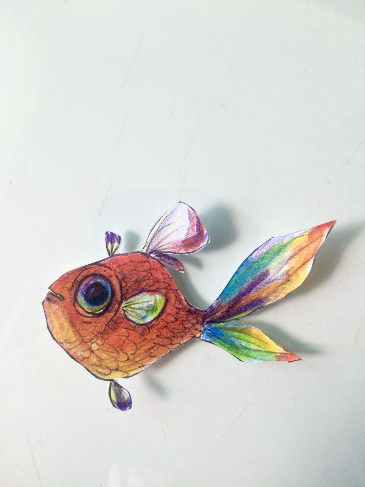 볼팬 무지개색연필로 그린 물고기