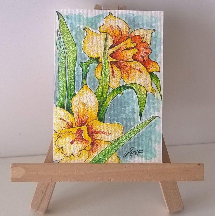"""""""Daffodil yellow"""" ACEO Original narcissus flowers garden Folk Art by Desf #FolkArt"""