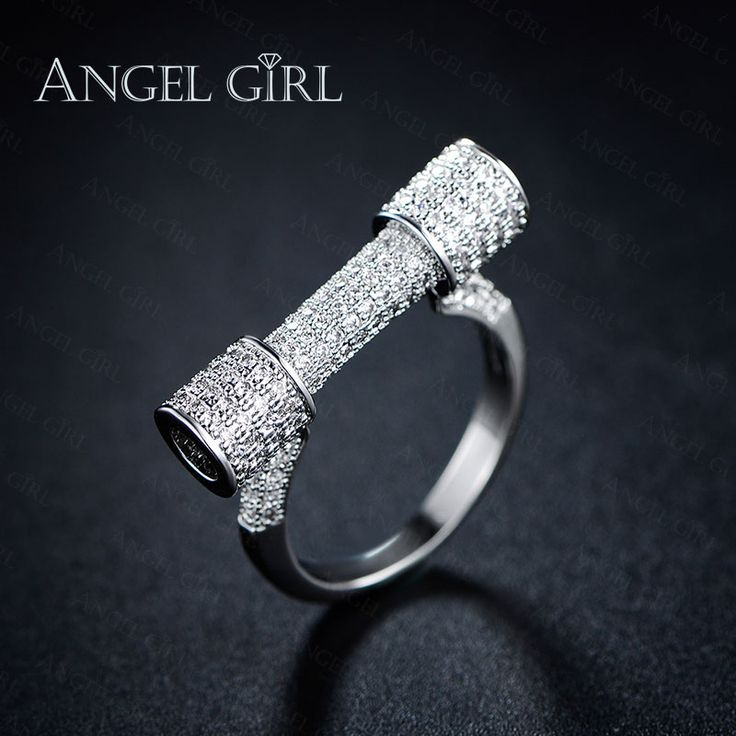 Angel girl aaa + cz wit vergulde trouwring engagement vrouwen ringen populariteit ring voor cocktail party ring