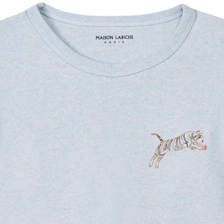 Maison Labiche Camiseta Bordada Jaspeada Tigre Azul Pálido-product