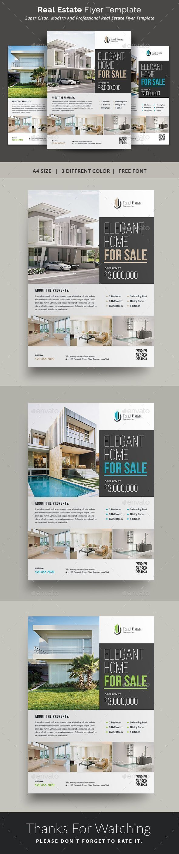 Real Estate #Flyer - Commerce Flyers - This Real Estate Flyer Template is a great tool for promoting your real estate business also useful for a realtor or a real estate agent. You can use it for real estate listings, advertising homes or property for sale,or houses for rent. Fully editable template, you can add images of your choice and change the texts. #realestateadvertising #toolsforremodeling #realestatebusiness