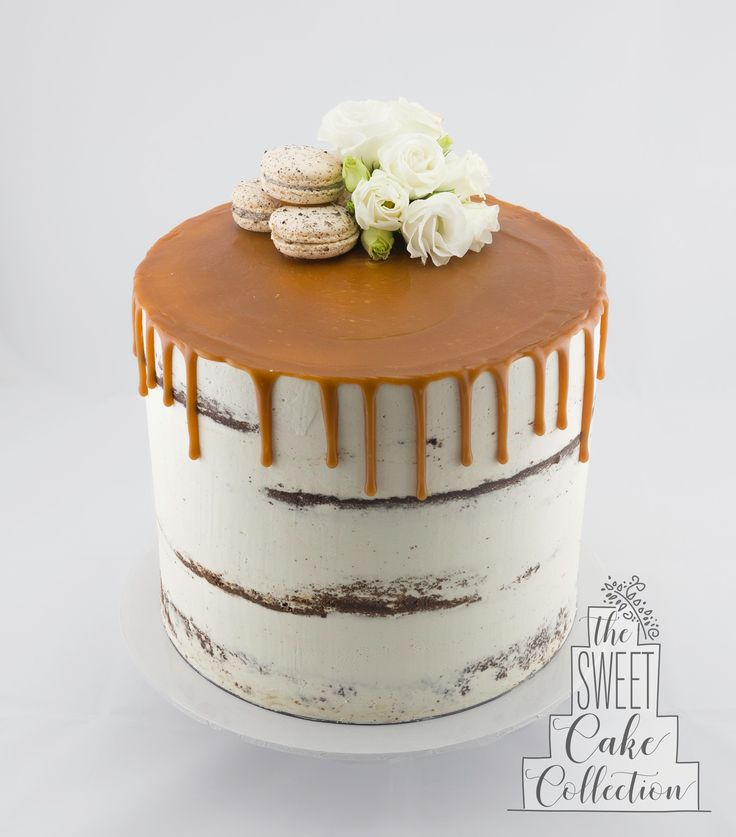 Semi Naked Drip Cake with Macarons and Flowers
