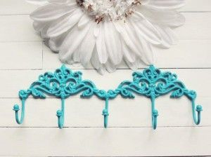 Turquoise Home Decor ,with White Flower