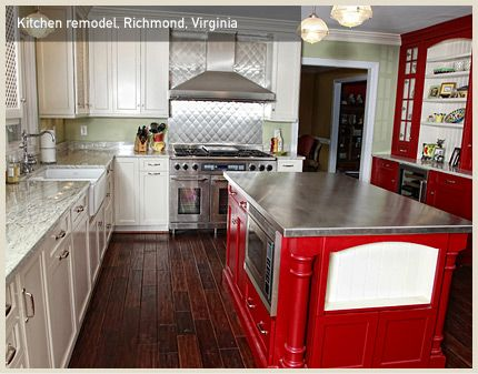 Brilliant Red Island And Hutch Makes This Richmond, VA Kitchen Pop!