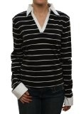 "Alpinestars Women's ""Stripe Shirt L/S T"" Mock Dress Sweater Black - http://clothing.wadulifashions.com/alpinestars-womens-stripe-shirt-ls-t-mock-dress-sweater-black/"