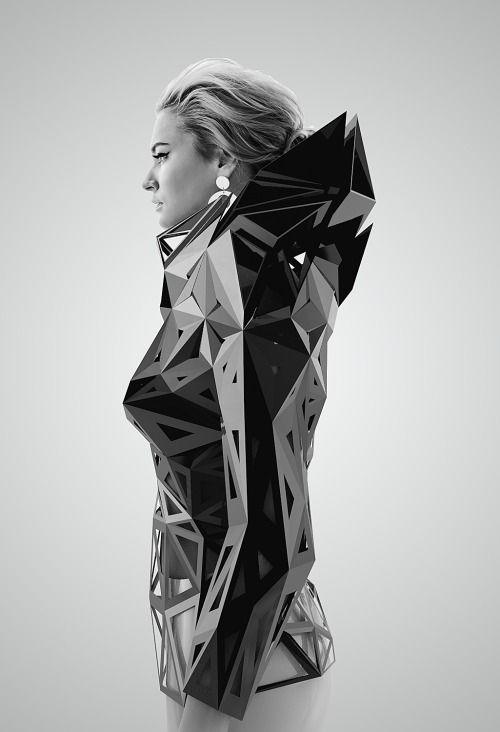 Architectural Fashion with 3D geometric structure; futuristic fashion // Levente Gyulai
