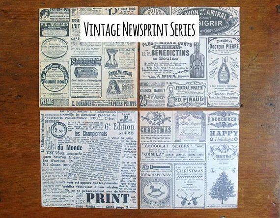 Vintage Newspaper Stickers Newsprint Paper Sticker Sheets Old Newspaper Washi Sticker Sheet Set Of 4 Vintage Newspaper Sticker Paper Sticker Sheets