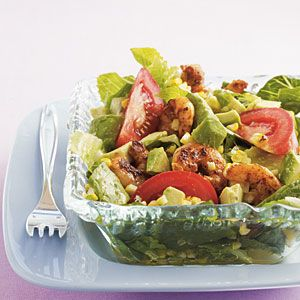 Grilled Southwestern Shrimp Salad with Lime-Cumin Dressing | MyRecipes.com #myplate #protein #vegetable
