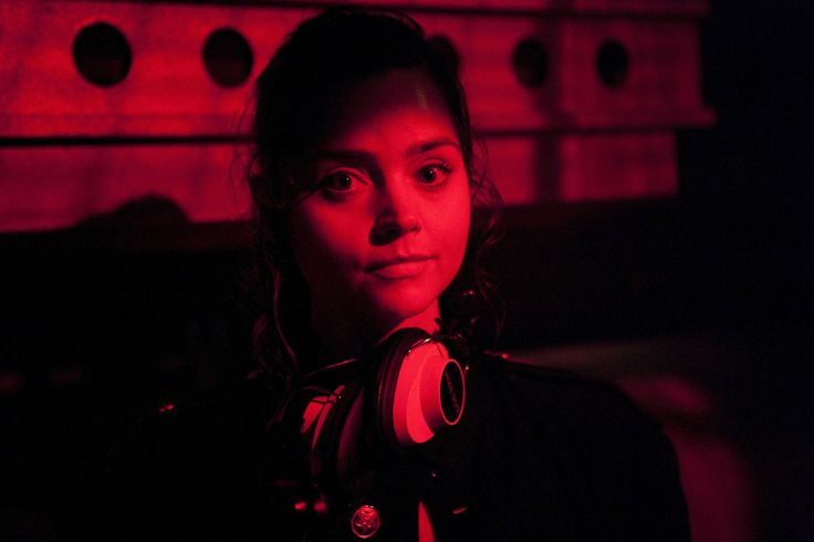 Jenna Louise-Coleman as Clara in 'Cold War' She's not wearing read but she certainly is cloaked in red.