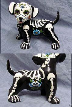 Puppy Figurine Dia De Los Muertos