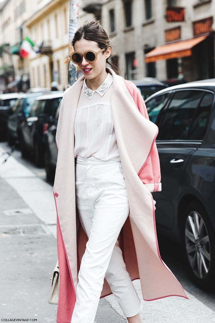 Milan Fashion Week -Fall Winter 2015 -Street Style - MFW - Dans Vogue - Pink Coat -Ballerinas #style #fashion  #pink: