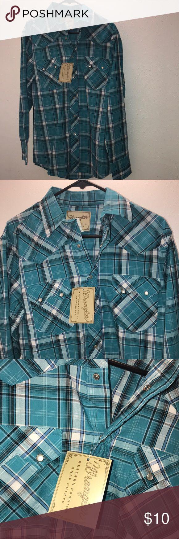 Blue Wrangler Dress Shirt Button Down Buttoned Down Blue Flannel Wrangler Dress Up Shirt Wrangler Shirts Casual Button Down Shirts
