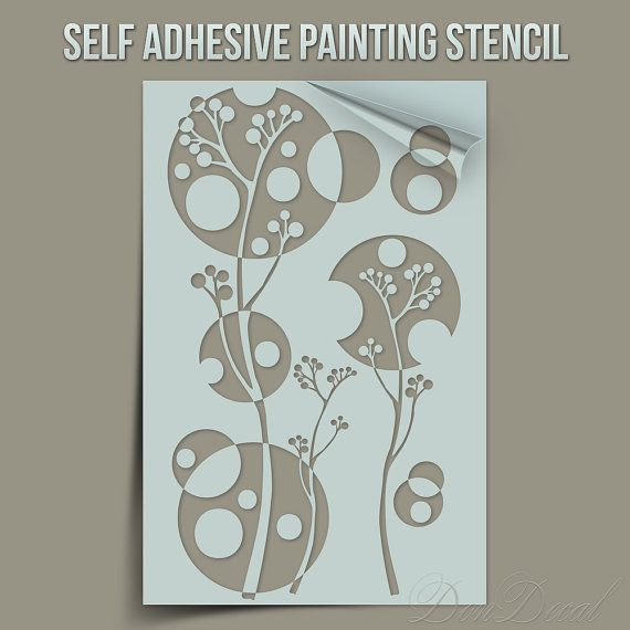 Field Flowers - One Time Use Self-Adhesive Wall Painting Stencil, Art Stencil, Airbrush Stencil, Paintining stencil, stencil, paint stencil