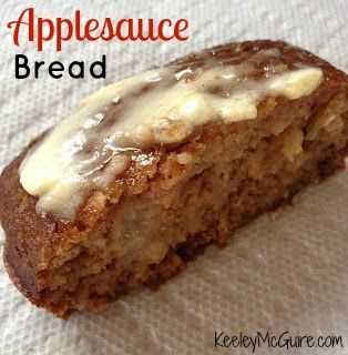 Applesauce Bread - made 9/12. Very moist and has a great flavor. I made one in a corningware loaf pan and one in a grey pan, the grey came out ready in 25 minutes, corningware in about 35 min. So good with butter, heated.