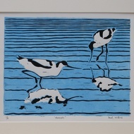 'Avocets' two colour Lino Print