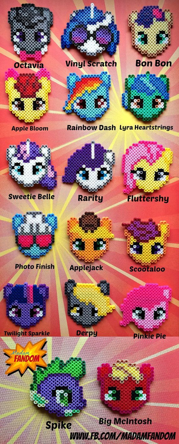 MY LITTLE PONY Hair Barrettes perler beads by MadamFandom on etsy
