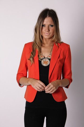 love the orange blazer...actually let me just get this whole outfit.