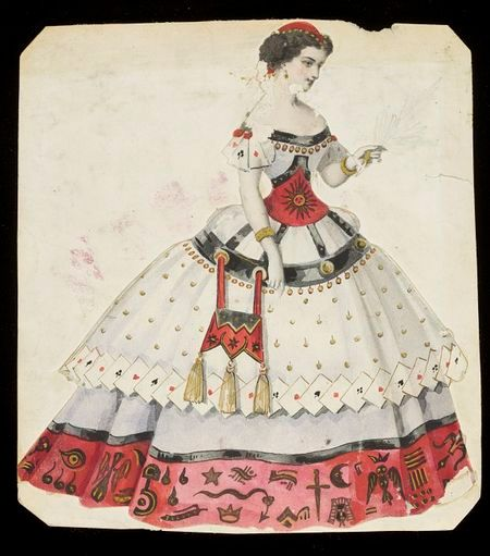 A design for a Fortune Teller costume drawn by Léon Sault in the 1860s. The design includes playing cards, hieroglyphs, occult symbols and c...