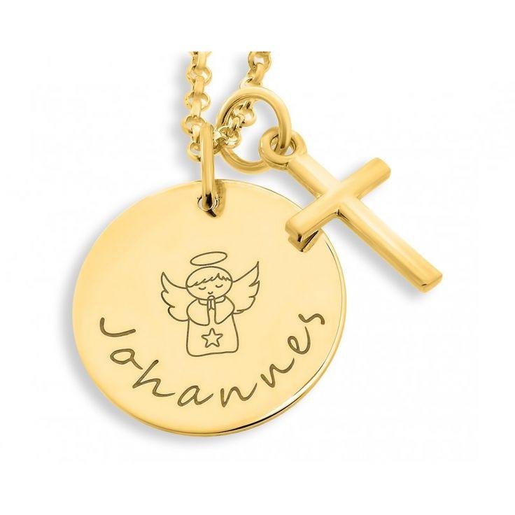 Wunderschöne Taufkette hochwertig vergoldet. Das Plättchen wird mit Ihrem Wunschtext designed. Daneben hängt ein kleines Kreuz.