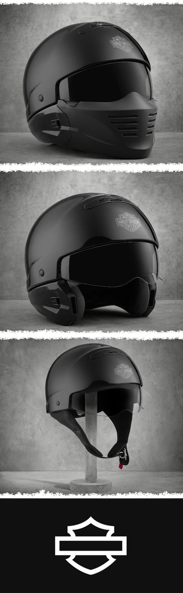 Pilot Style Motorcycle Helmet : pilot, style, motorcycle, helmet, Three, Innovative, Options, Added, Comfort., Harley-Davidson, Pilot, 3-in-1, Helmet, Harley, Davidson, Helmets,, Helmet,, Custom, Motorcycle, Helmets