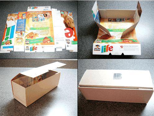 Scatola box con le confezioni di cartone dei cereali