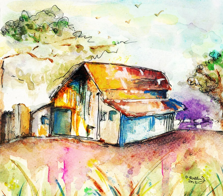 112 best images about watercolor and pen on pinterest for Watercolor barn paintings