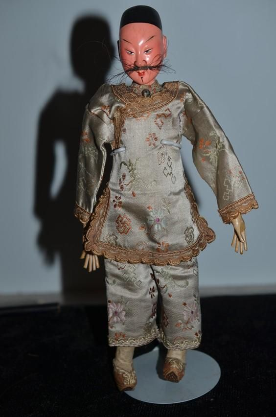 Antique Doll Oriental Opera Doll Man with Mustache Ornate Clothing