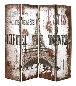 A stunning four panel divider screen of an image of the Eiffel tower. This high quality screen is carefully made using reinforced wooden frames together with st