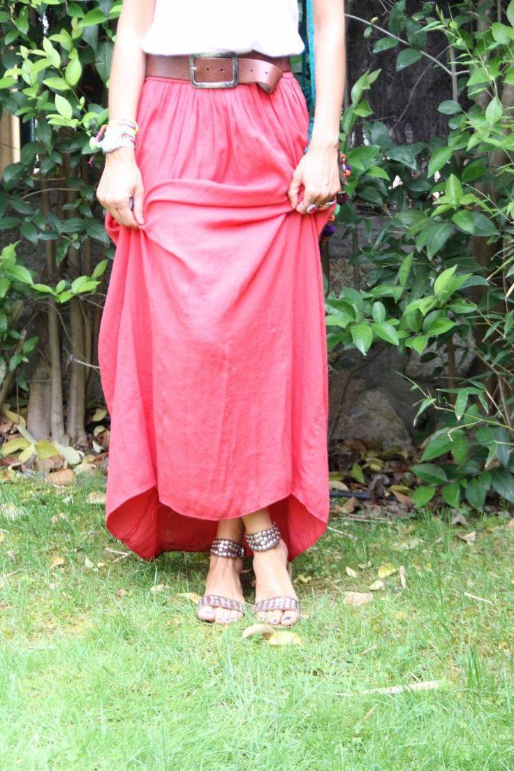 coral skirt | mytenida en stylelovely.com