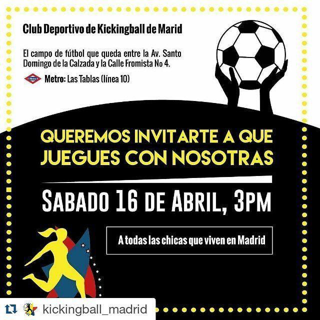 #Repost @kickingball_madrid with @repostapp  Hola a todos! Queremos invitarles a jugar con nosotros una caimanera (mixta) de KICKINGBALL!  Somos chicas venezolanas y jugamos un deporte llamado Kickingball.Este deporte es muy famoso en Venezuela pero aquí en España solo pocos lo conocen; es una mezcla entre el Fútbol y el Baseball  Independientemente de si lo conoces o no queremos invitarte a que juegues con nosotros! Ven diviértete y comparte de forma sana el próximo sábado 16 de Abril a las…